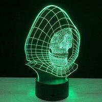 3D Skull Head Colorful Light Touch Sensor Sensitive LED Night Light Night Light For Home Baby