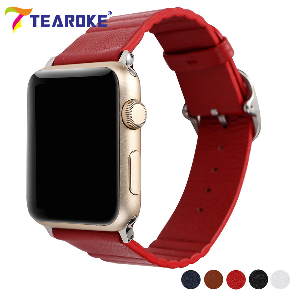 TEAROKE Super Soft Wave Pattern Leather Watchband for Apple Watch 38mm 42mm Square Buckle Replacement Strap Band for iwatch 1 2 eache silicone watch band strap replacement watch band can fit for swatch 17mm 19mm men women