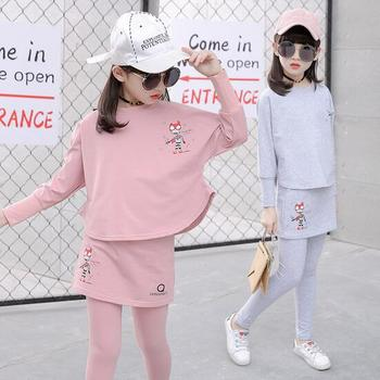 2017 Baby Clothing Set Autumn Baby Girls Clothes Long Sleeve T-Shirt+Pants 2Pcs Suits Cartoon Children Spring Solid 6-15T O-Neck 3