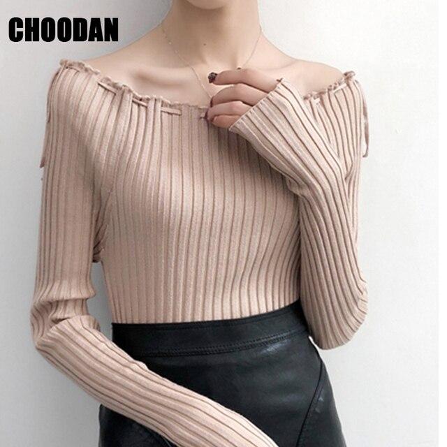 f8406fb54734 Long Sleeve Shirt Female Sexy Slash Neck Knitting Sweater Women Spring Autumn  Fashion 2019 Korean Style Ladies Fitness Pullovers