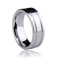 Free Shipping and Engraving 7mm Man's Jewelry Ring Tungsten Two Grooving High Polished Comfort Fit Size 7 11