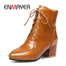 ENMAYER New arrival Lace Up Ankle  Boots Size 33 - 43 Autumn Winter Pointed toe Shoes Square heel ZYL110