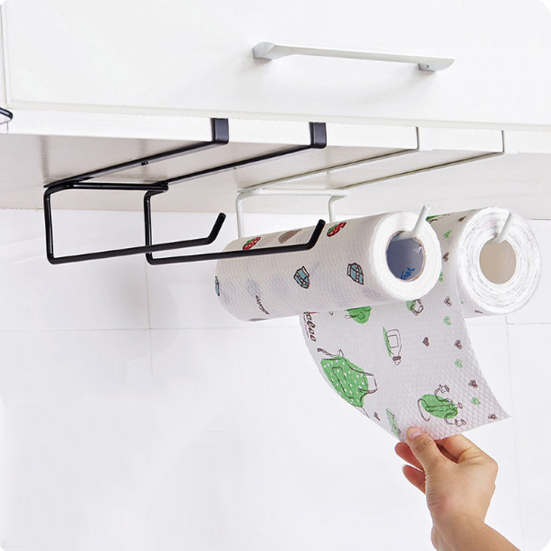 Cling:  Iron Paper Rack Holder Shelf Kitchen Organizer Cupboard Hanging Paper Towel Holder Rack Tissue Cling Film Storage Rack Box - Martin's & Co