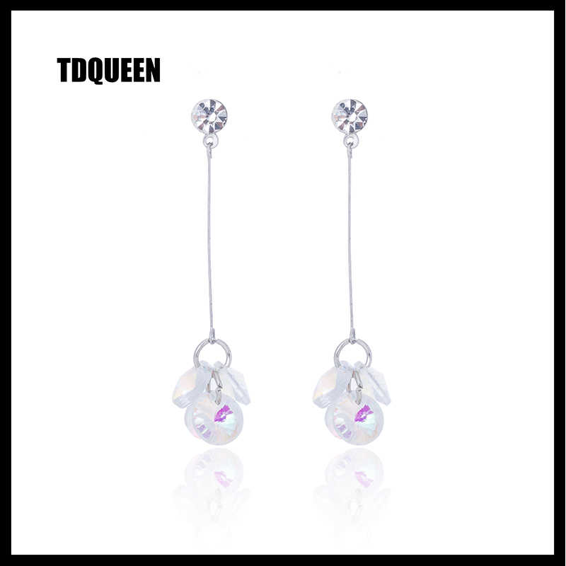 TDQUEEN Cubic Zirconia Dangle Earrings For Women Korean Trendy Style za Jewelry Pompom Brinco Silver Long Tassel Dangle Earrings