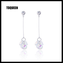 TDQUEEN Cubic Zirconia Dangle Earrings For Women Korean Trendy Style za Jewelry Pompom Brinco Silver Long Tassel Dangle Earrings(China)