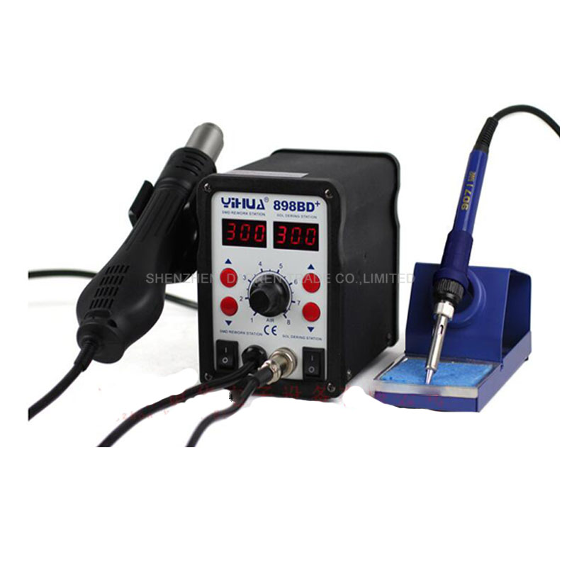 YIHUA 898BD+ 220V 2in1 Digital Display Electric Soldering iron + Hot Air Heat Gun SMD Rework Soldering Desoldering Station digital indoor air quality carbon dioxide meter temperature rh humidity twa stel display 99 points made in taiwan co2 monitor