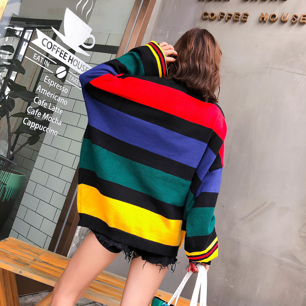 Image 3 - 2020 Spring rainbow stripes loose plus size sweaters women  fashion puff sleeve turtleneck knitted sweatersPullovers   -