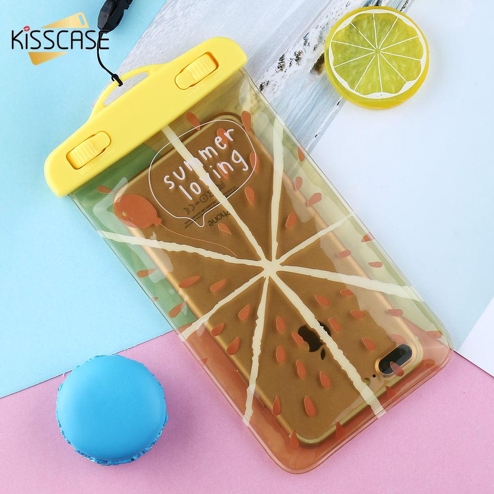 KISSCASE průhledné vodotěsné pouzdra pro mobilní telefony pro iPhone 7 8 plus pouzdra pro Samsung S9 S8 S7 nepromokavá taška pro Huawei