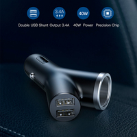 Baseus 40W Car Charger for Universal Mobile Phone Dual USB Car Cigarette Lighter Slot for Tablet GPS 3 Devices Car Phone Charger
