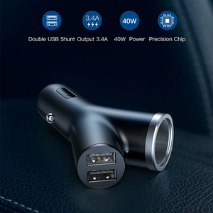 Image 2 - Baseus 40W chargeur de voiture pour téléphone portable universel double USB voiture allume cigare fente pour tablette GPS 3 appareils voiture chargeur de téléphone