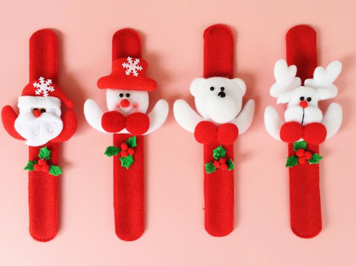 Xmas Party Favors Santa Claus Slap Bracelet Christmas Reindeer Wrist Band Bangle Festive Grand Event Kids Adults Gift Red In From Home Garden
