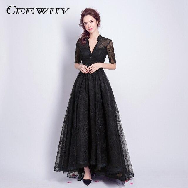 CEEWHY Deep V-Neck Lace Black Evening Dresses Elegant Prom Formal Dress  Vestido de Festa Half Sleeve Vintage Evening Gown Long 005b0903c832