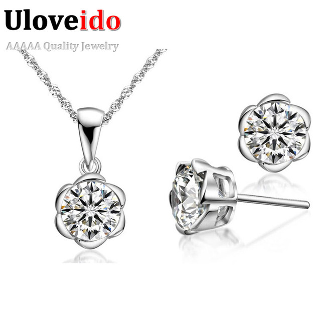 White Wedding Jewelry Sets 2017 Vintage Silver Set Flower Crystal Necklace Pendant Earrings for Women Bijoux Pendants Ulove T178