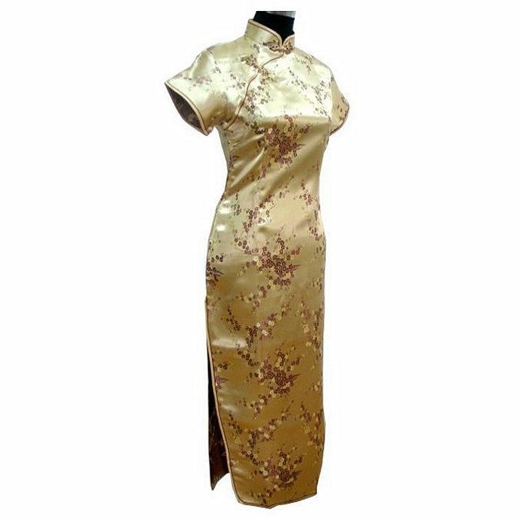 Satin Longue Qipao Robe Mujer Vestido fleur taille S M L XL XXL XXXL - Vêtements nationaux - Photo 2