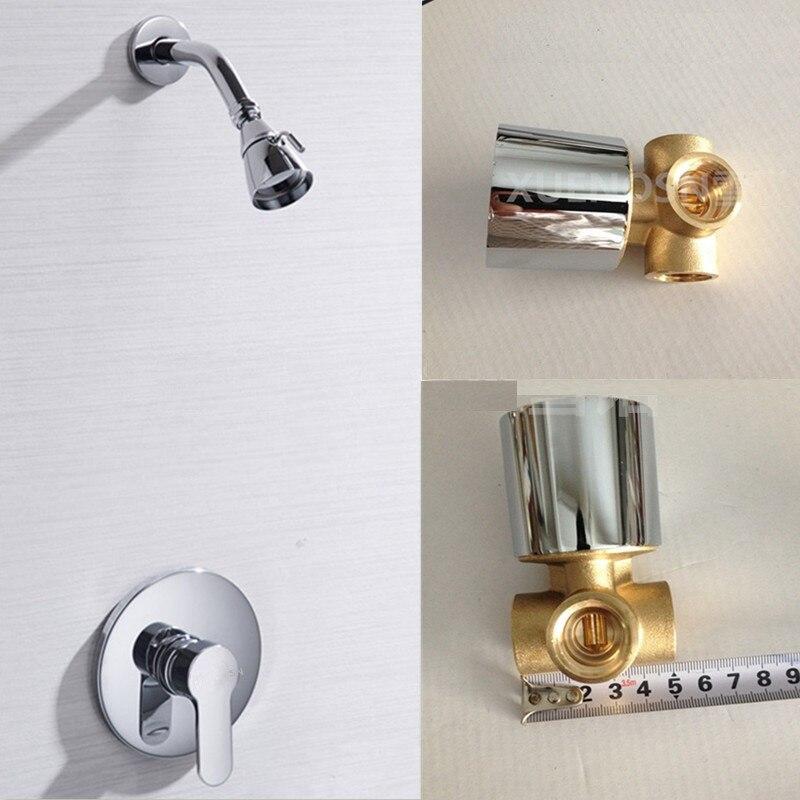 Vidric laiton massif cuivre dans le mur dissimulé robinet de douche mural pomme de douche pluie robinet costume