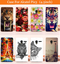 colored case for Alcatel One Touch Pixi 3 4.5 inch Cute Painted Hard Back Cover Case For Alcatel Pixi 3 4027X 4027D 4028A 4028E(China)