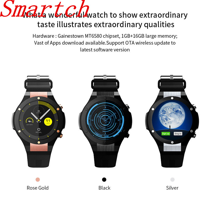 Smartch 2017 H2 Smart Watch MTK6580 IP68 Waterproof 1.40 inch 400*400 With GPS Wifi 5MP Camera Smartwatch For Android iOS Phone red line для 6 6s 4 7 ут000005727