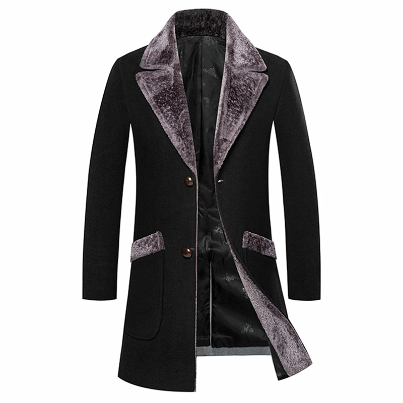 Men's wool trench coat Fashion long urban high-end stitching Slim large fur collar blends coat / high quality windbreaker M-5XL