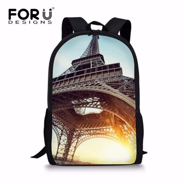 FORUDESIGNS Fancy Eiffel Tower Print School Bag for Grade Student Girls Kids  Schoolbag Junior Backpack Children Bookbag Mochila