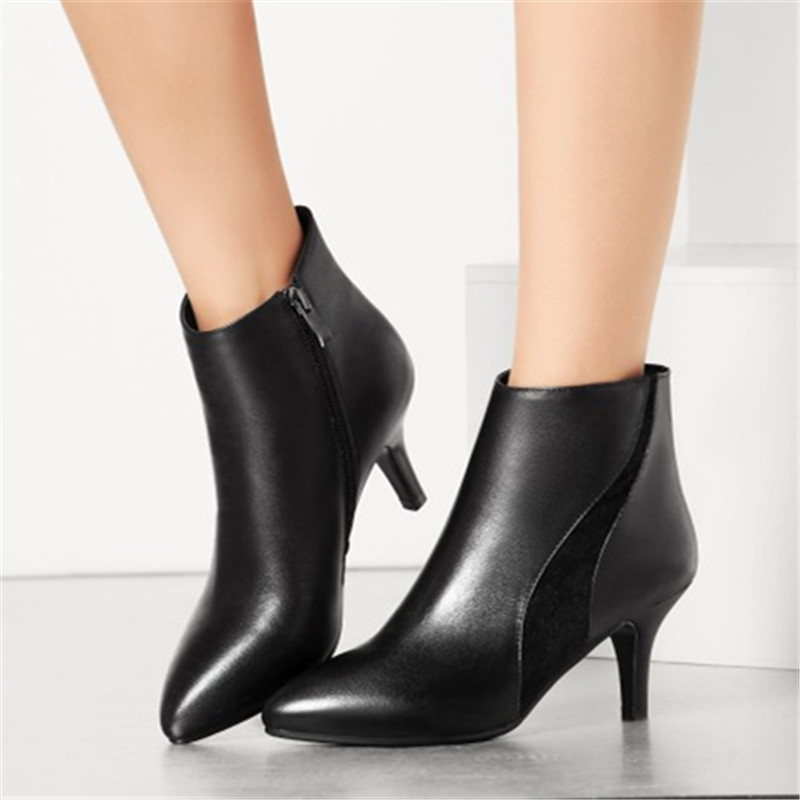где купить  New Genuine Leather Ankle Boots Fashion Party Women Boots Pointed Toe Stiletto High Heel Black Sexy Pumps Shoes Plus Size 34-43  дешево