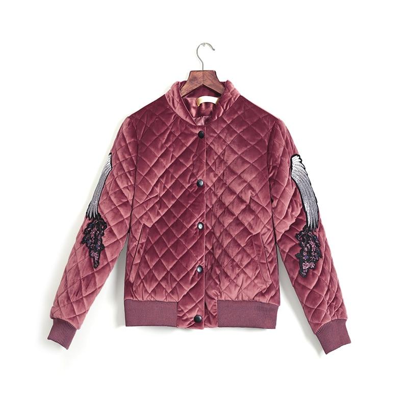 pink Manteau Velours De Rembourré Veste Or brown Mode Coton beige Parkas Bomber 2019 D'hiver Femmes Black En Marque Épaissir Broderie Chaud xHAgEwp