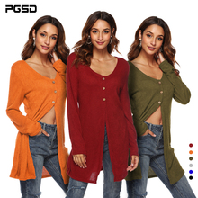 купить PGSD Long Cardigan 2018 Autumn Fashion Women Coat Casual Winter High slit  Cardigan with Button solid color Tops female Outwear по цене 854.52 рублей