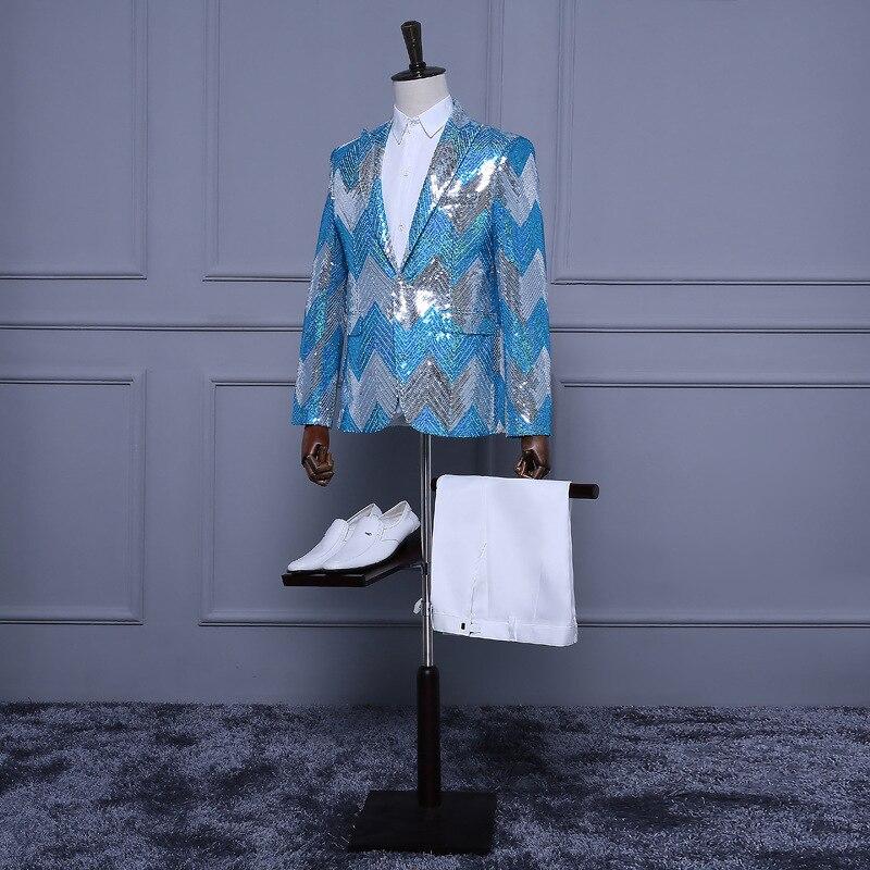 (Jas + Broek) Lichtblauw Wit Zilver Pailletten Smoking Streep Paillette Mens Show Stalknecht Slanke Pakken Sequin jas Mannen-in Pakken van Mannenkleding op  Groep 2