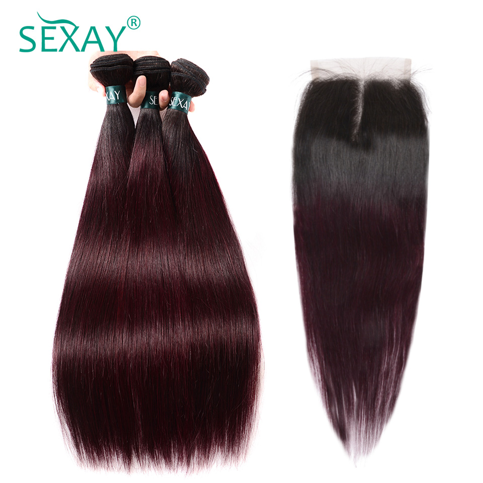 Sexay Burgundy Brazilian Straight Hair Bundles With Closure Dark Roots T1B/99J Ombre Brazilian Human Hair 3 Bundles With Closure