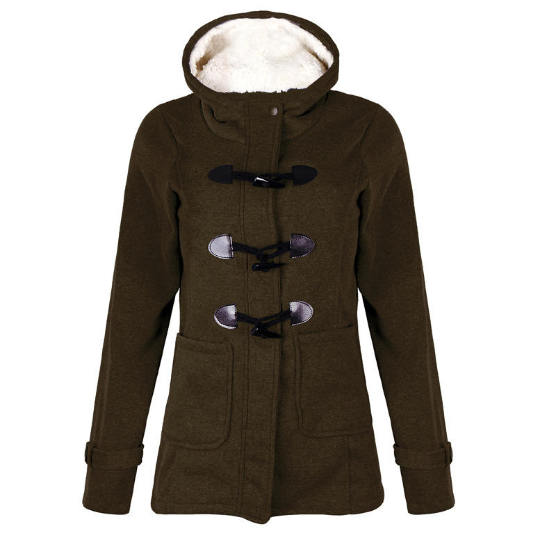 dark Outwear Polaire À Mode Bouton Coton Moyen Green gray Capuchon Long Black Grey Red Femmes green navy Slim De wine Klaxon Vêtements D'hiver Veste brown Casual red blue Manteau Chaud w65B6qa