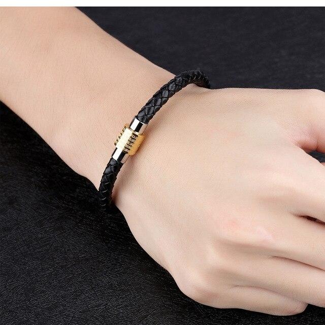 Купить модные черные кожаные мужские браслеты золотого и серебряного картинки