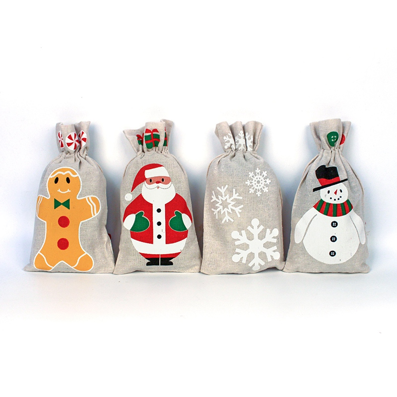2018 4Pcs/set New Year Snowflake / Santa Claus / Snowman Linen Drawstring Gift Bag Christmas Decoration Dinner Table Supplies c58