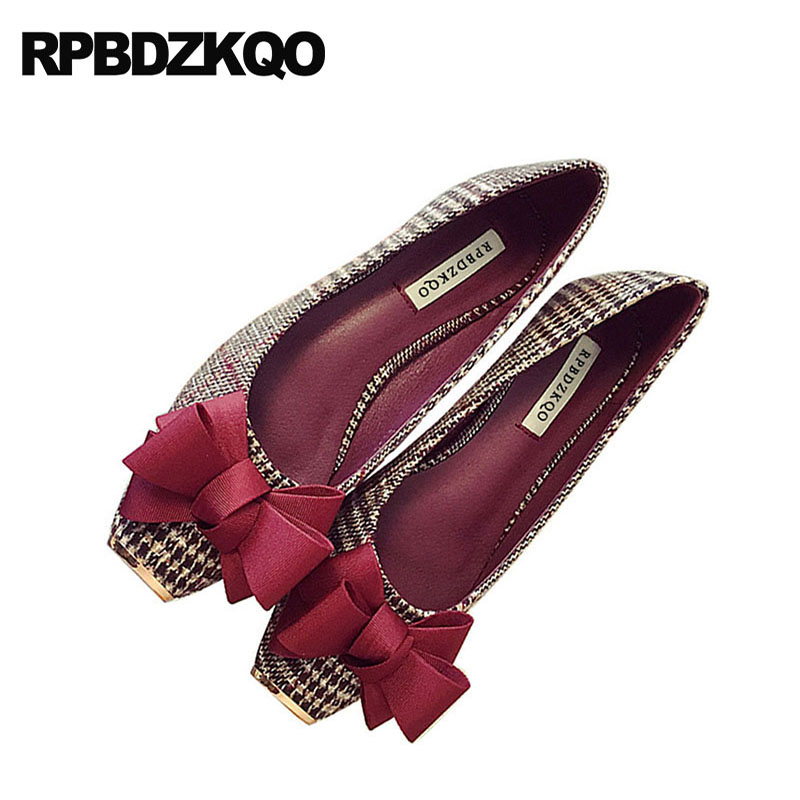 Slip On Black And White Cloth Party Bow Korean Red Wine Kawaii Ladies Square Toe Metal Women Dress Shoes Flats Plaid Houndstooth mantra встраиваемый светильник mantra saona c0190