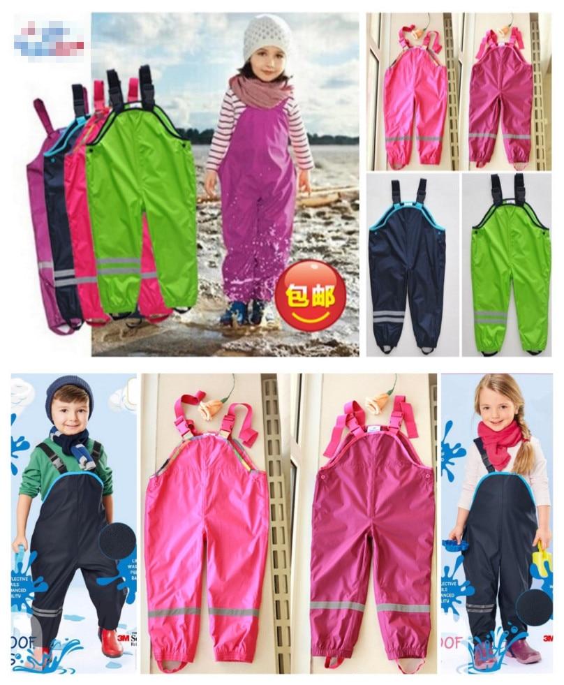 Boys and girls suspenders beach pants children rain pants waterproof ski pants windproof bib pants 2