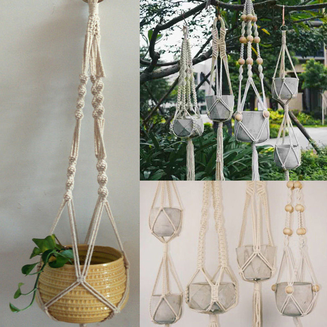 Simple Pot Holder Macrame Plant Hanger Hanging Planter Basket Jute Rope Braided Craft