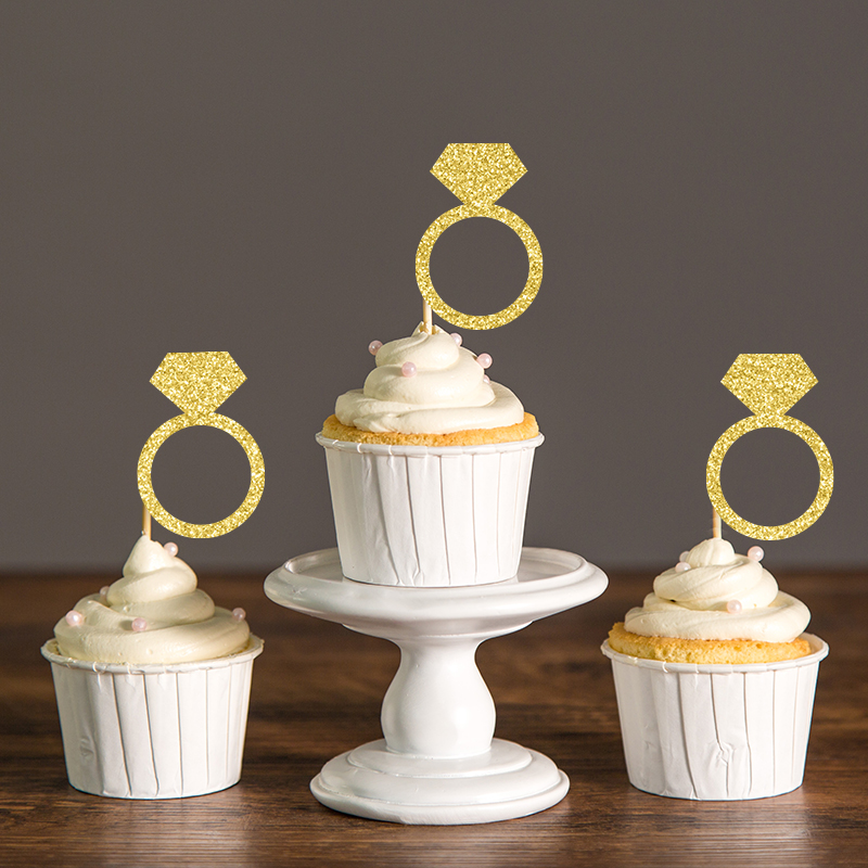 bridal shower cake toppers gold silver black glitter ring cupcake toppers 2063