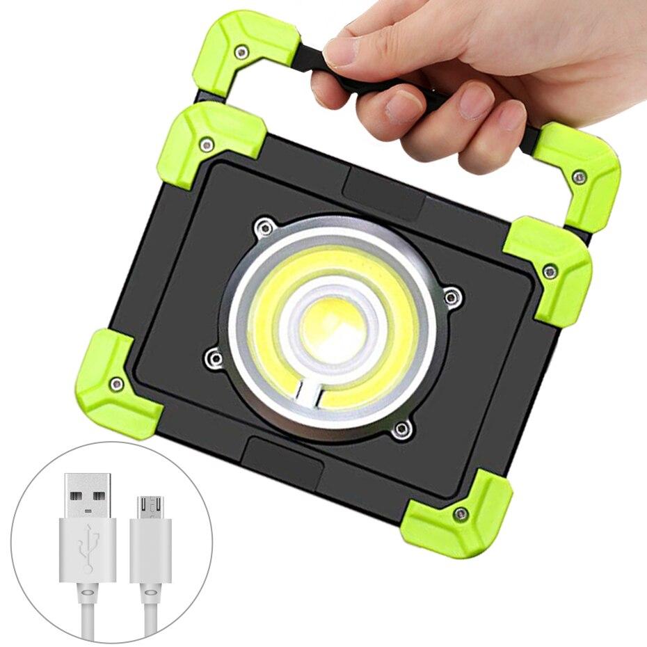 Işıklar ve Aydınlatma'ten Taşınabilir Spot Lambalar'de Su geçirmez sel ışıkları COB USB şarj edilebilir LED lamba çalışma ışığı 1200 lümen 20W taşınabilir LED Spotlight kamp Lampe title=