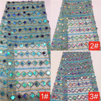 Best Selling silver African Lace Fabric Nigerian French Fabric, 2018 High Quality glitter sequins Tulle Lace Fabric Z12
