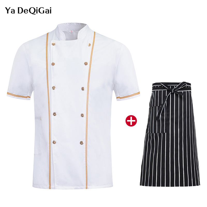 New Short Sleeve Chef Cooking Clothes Unisex Restaurant Hotel Kitchen Uniforms Catering Workwear  + Apron Wholesale  Coat  Chef