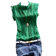 2017 Retro Summer Style Women Reffle sleeveless Shirt Chiffon Blouse Office Lady Casual Top S-XL