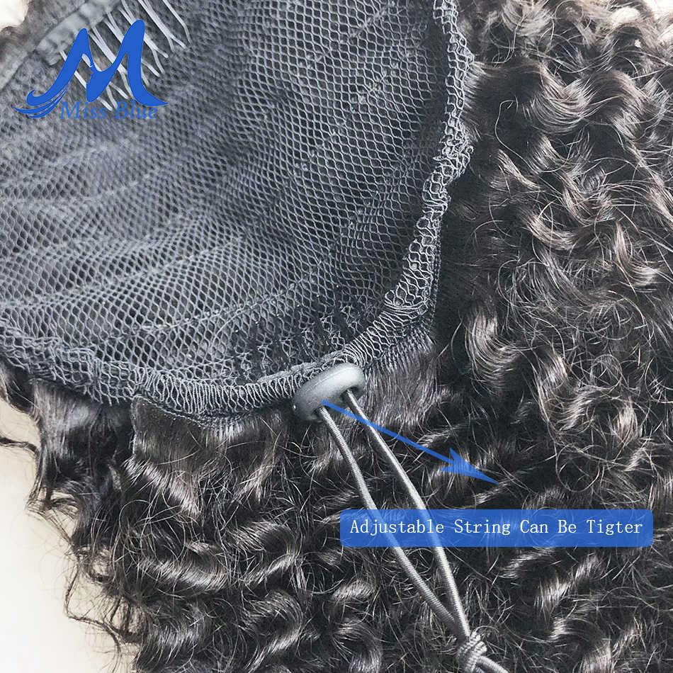 Mongol Afro rizado cabello humano cordón Cola de Caballo Clip en extensiones de cabello Natural Remy Puff Cola de Caballo productos Missblue