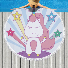 Cartoon Unicorn Print Large Round Beach Towel Microfiber Picnic Blanket Sport Yoga Mat Tassel Bath Home Decor 150cm