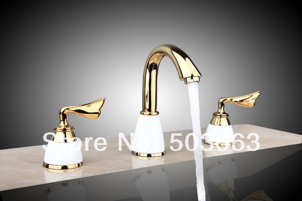 Great Design 3 Pieces 2 Lever Bathroom Bathtub Basin Sink Polished Golden Faucet Vanity Mixer Tap Deck Mounted MF-678 luxury great waterfall wall mounted bathroom basin sink bathtub polished chrome double handles mixer tap faucet mf 828