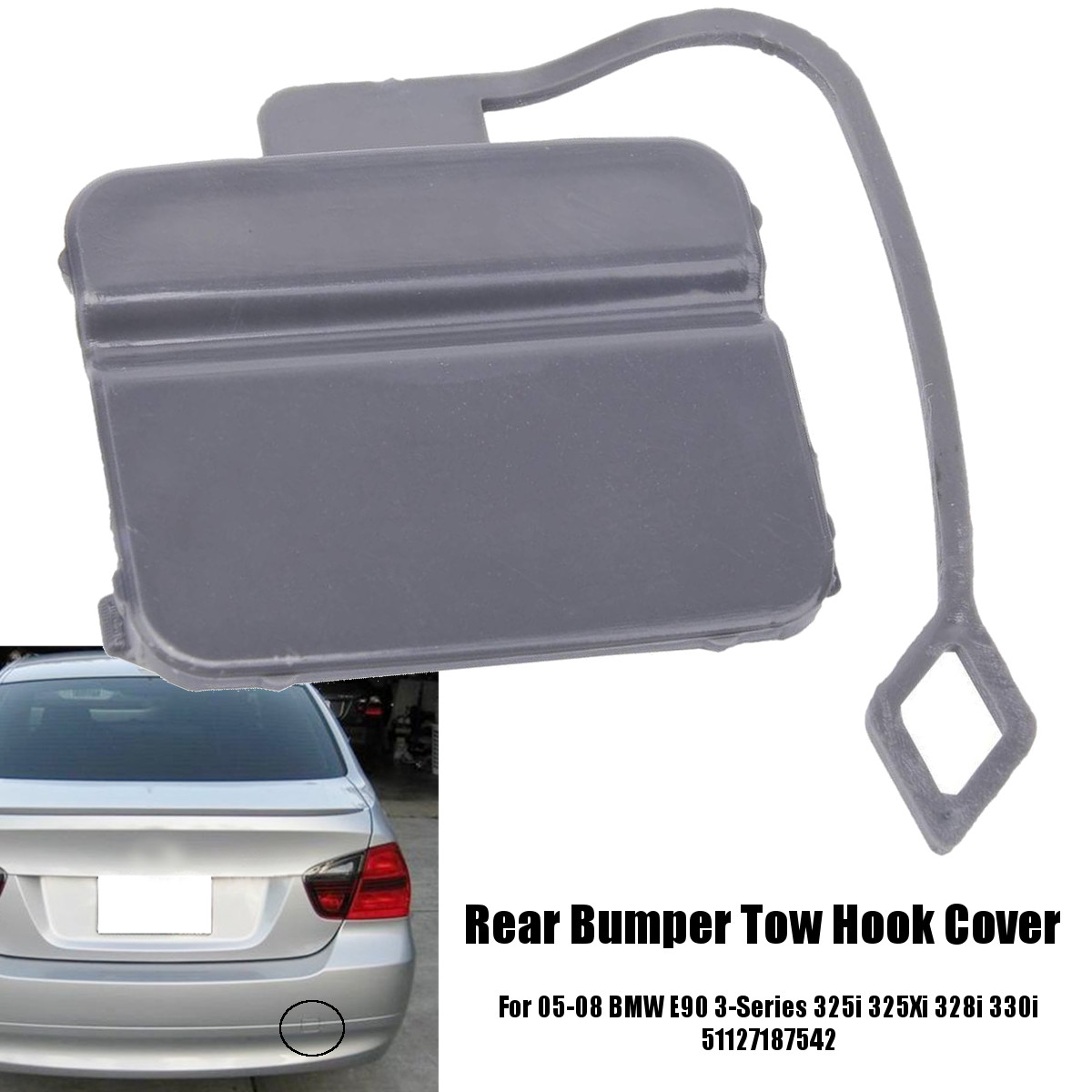 Rear Tow Eye Cover Compatible with BMW 3-SERIES 2012-2015 Primed Gray Sedan