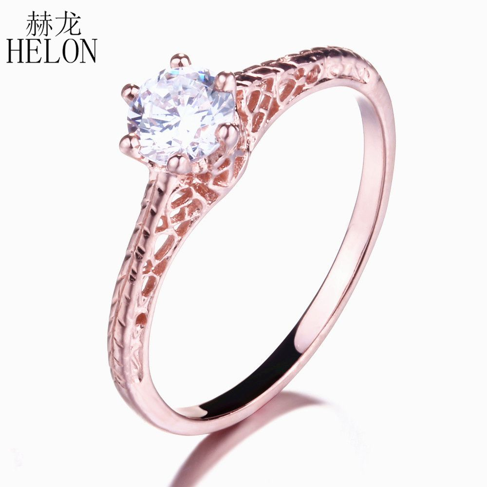 HELON Vintage 0.5ct Moissanite Ring Solid 14K Rose Gold 5mm Round Cut Test Positive Lab Grown Moissanite Diamond Engagement Ring цены