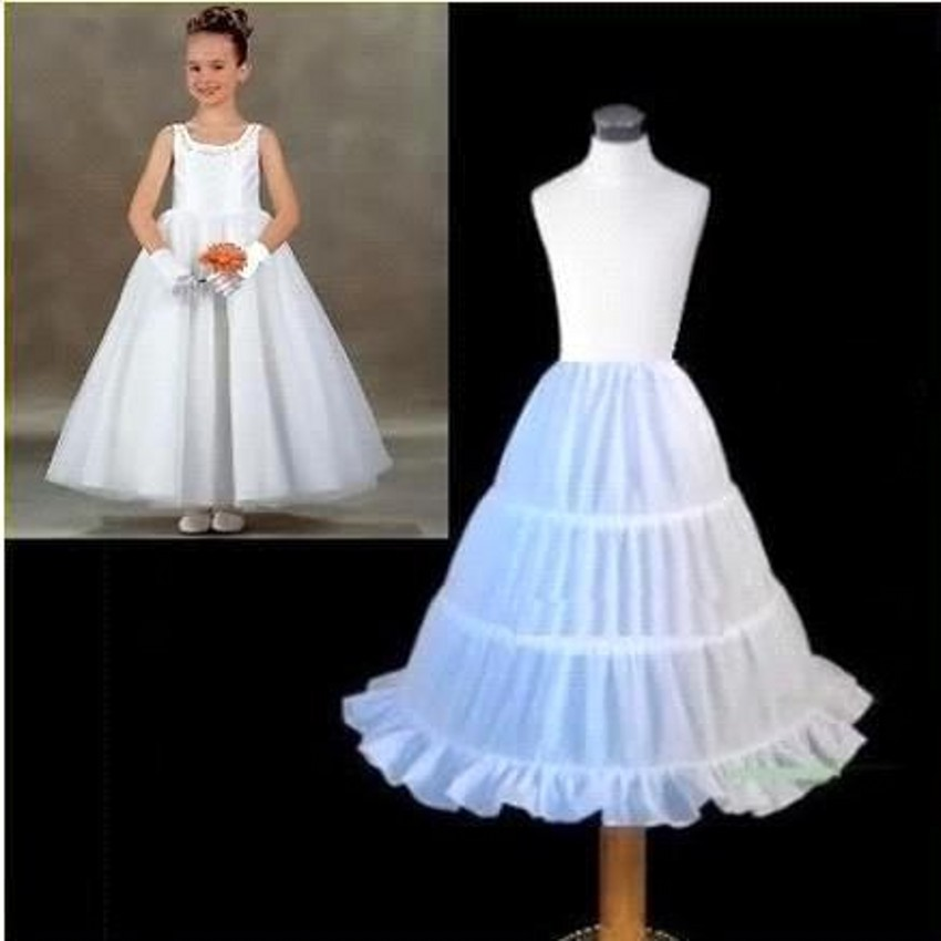 A Line kids Petticoats For Little Kids On Stage Wedding Accessories 3 Hoop White Petticoat Slip For Flower Girl Dresses