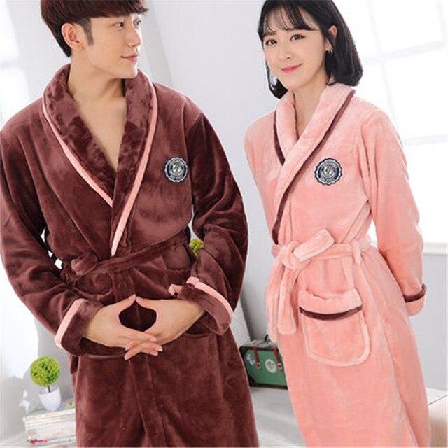 100% Coral Fleece 2017 Winter Couple Robe Sets Autumn Sleepwear Robes girls night Homewear For Women Plus Size Nightgown Men
