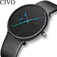 CIVO Мода повседневное для мужчин s часы Роскошные Reloj Hombre 2019 Новый водостойкий Ультра тонкий циферблат Спорт для мужчин часы Relogio Masculino