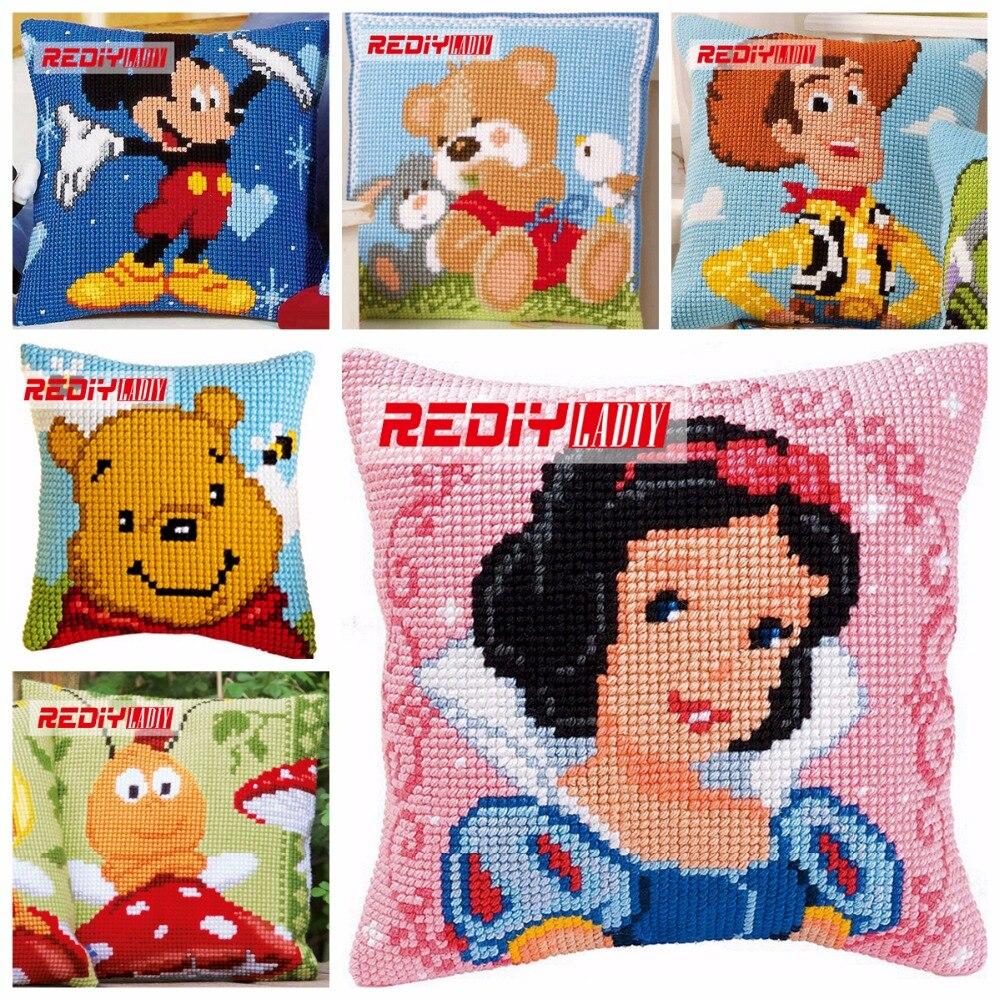 Cheap white pillowcases for crafts - Ladiy Cross Stitch Pillow Case Cartoon Cushions For Sofa Cross Stitch Snow White Princess Decorative