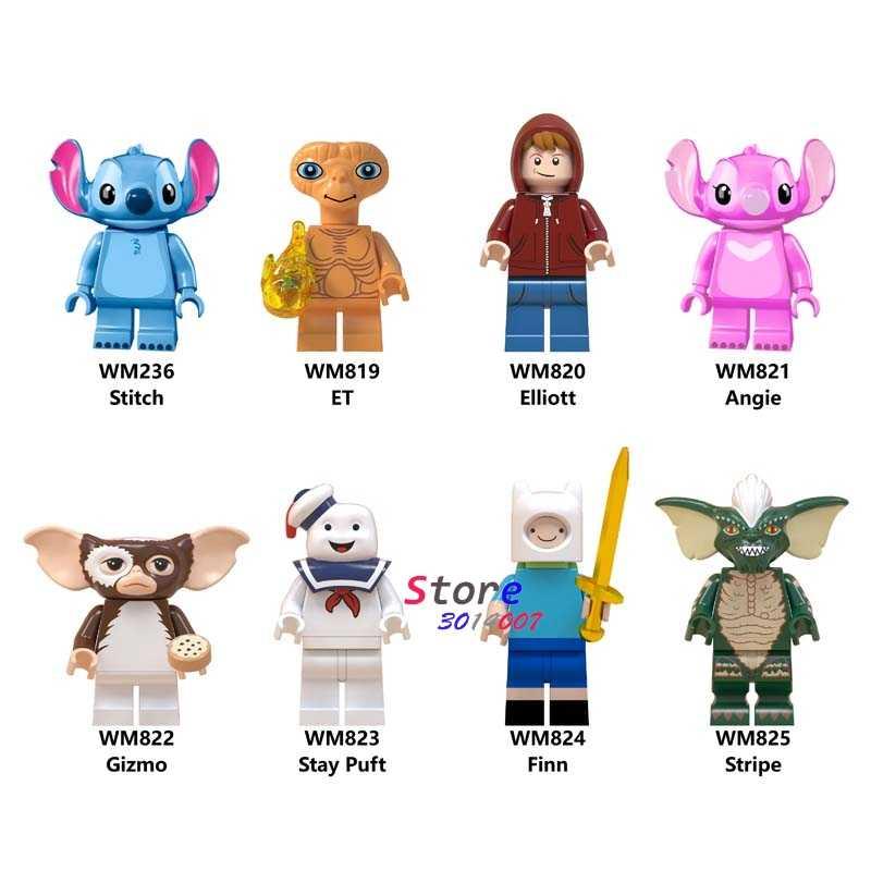 Único Blocos de Construção Dos Desenhos Animados Filme E.T. Elliott Stay Puft Finn Gizmo ponto Angie Unikitty Sonic brinquedos para as crianças