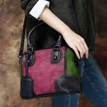 Original Design Real Leather Women Vintage Handbags 2016 Luxury Handmade Panelled Retro Shell Bag Messenger Crossbody Bag